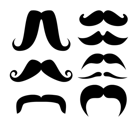 set male with fachion mustaches style vector illustration Stock Illustratie