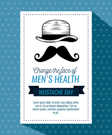 male hat with mustache style and ribbon vector illustration Illustration