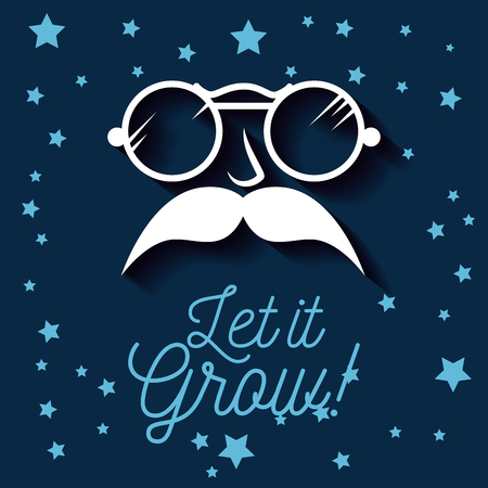 male with sunglasses and mustaches style to movember vector illustration