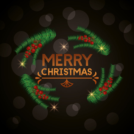 merry christmas branches balls sign vector illustration