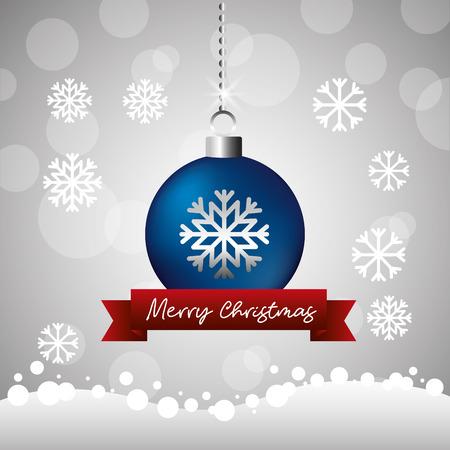merry christmas blue ball snowflake ribbon background vector illustration
