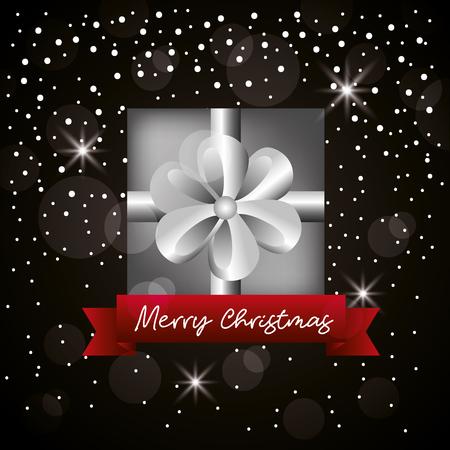 merry christmas ribbon gift box black stars background vector illustration Illustration