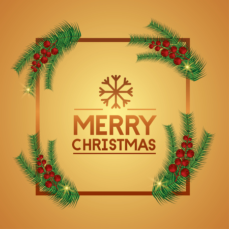 merry christmas red frame snowflake decoration vector illustration