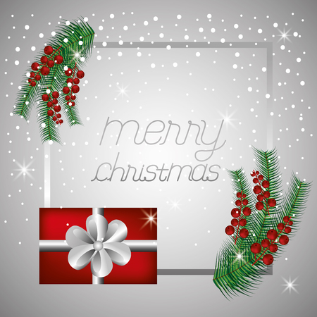 merry christmas frame gift box decoration vector illustration