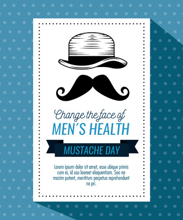 male hat with mustache style and ribbon vector illustration 向量圖像
