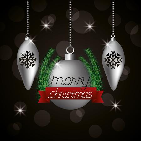 merry christmas ribbon balls lights background vector illustration Illustration