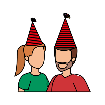 young couple with party hat vector illustration design