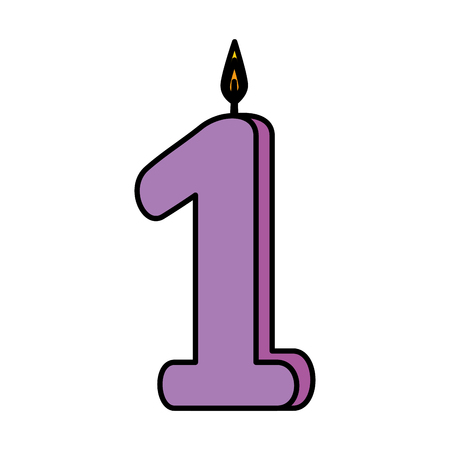 candle birthday number one vector illustration design