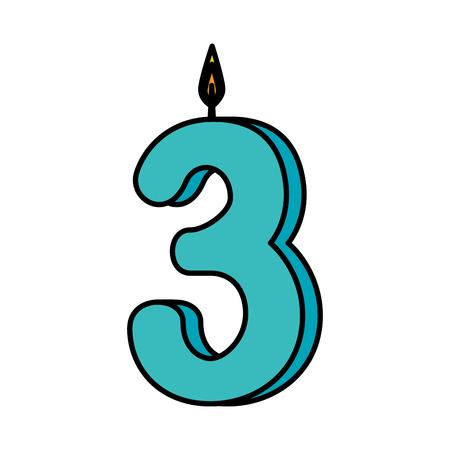 candle birthday number three vector illustration design