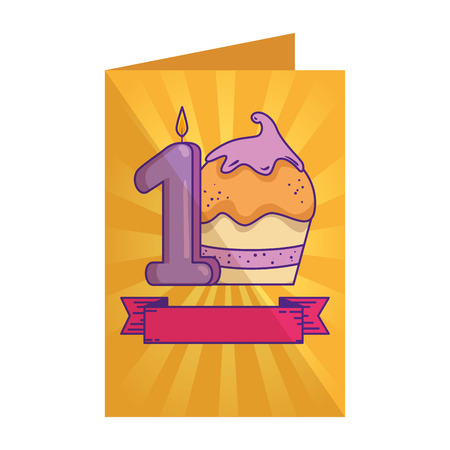 card with cupcake sweet with candle number one vector illustration