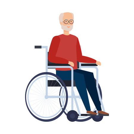 車椅子ベクトルイラストデザインの老人