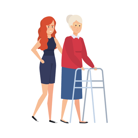 old woman with walker and helper vector illustration design Imagens - 127515000