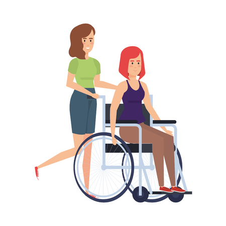 woman in wheelchair and helper characters vector illustration design 写真素材 - 127515001
