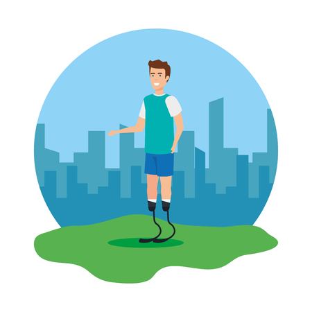 man with foot prosthesis vector illustration design