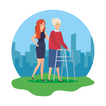 old woman with walker and helper vector illustration design
