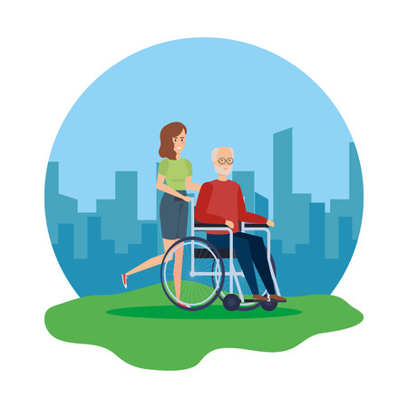old man in wheelchair with woman helper vector illustration design