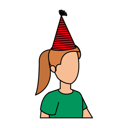 beautiful woman with party hat vector illustration design 矢量图像