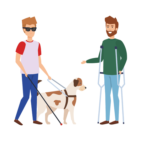 blind man with guide dog and man with prosthesis vector illustration Archivio Fotografico - 127515019