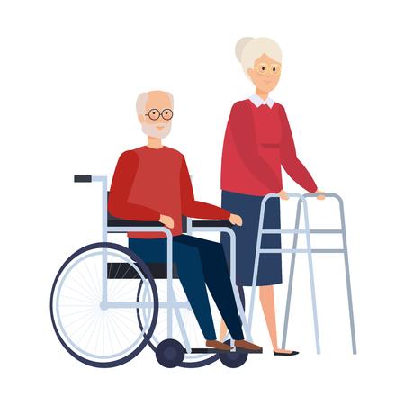 alte Frau mit Gehhilfe und alter Mann im Rollstuhlvektorillustration