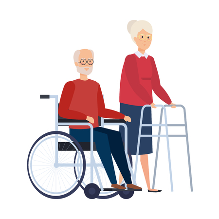 old woman with walker and old man in wheelchair vector illustration