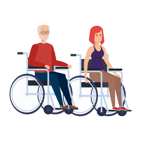 old man and woman in wheelchairs vector illustration design Ilustracja
