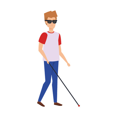 blind man character icon vector illustration design