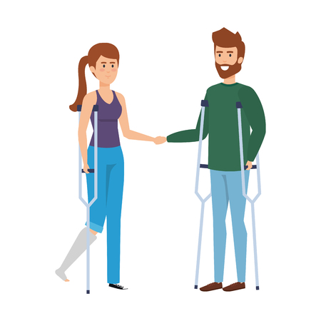 couple with crutches characters vector illustration design