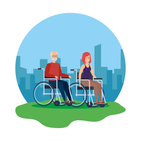 old man and woman in wheelchairs vector illustration design Çizim