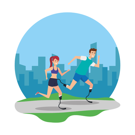 couple with foot prosthesis vector illustration design