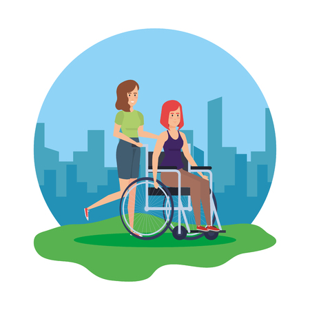 woman in wheelchair and helper characters vector illustration design