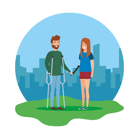 man with crutches and woman with hand prosthesis vector illustration