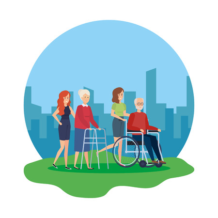 old man in wheelchair and old woman with walker vector illustration Çizim