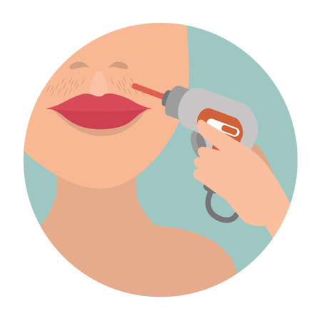 woman face with hair removal icons vector illustration design Vectores