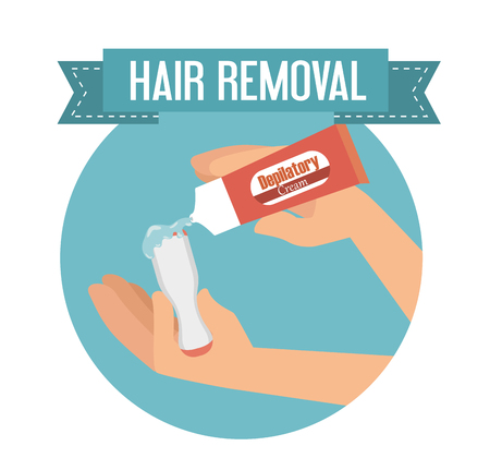 hands using hair removal product vector illustration design