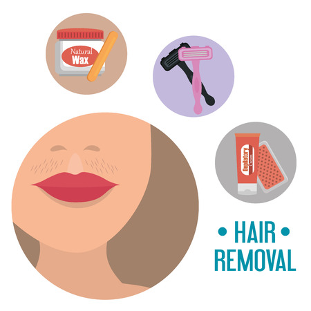 woman face with hair removal icons vector illustration design Ilustracja