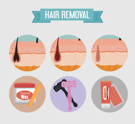 layers skin structure with hair removal icons vector illustration design  イラスト・ベクター素材