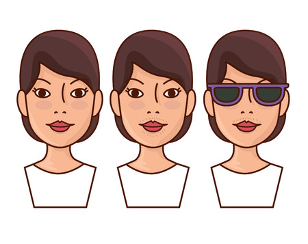 woman faces hair removal before and after vector illustration design Illustration