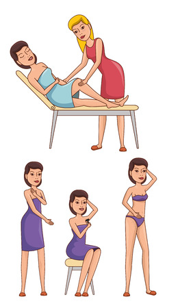 woman body with hair removal icons vector illustration design Stock Illustratie