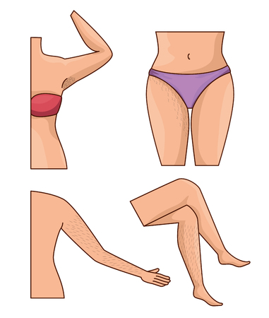 woman body parts with hair removal icons vector illustration design