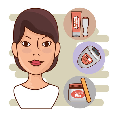 woman face with hair removal icons vector illustration design Imagens - 127475722