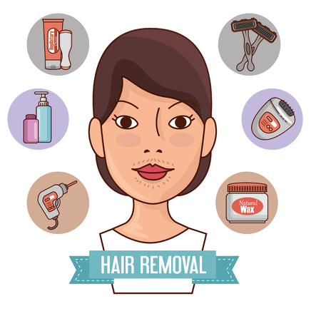 woman face with hair removal icons vector illustration design Çizim