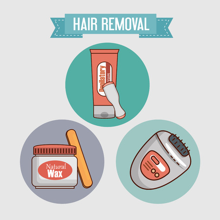 hair removal set products vector illustration design Standard-Bild - 112447234