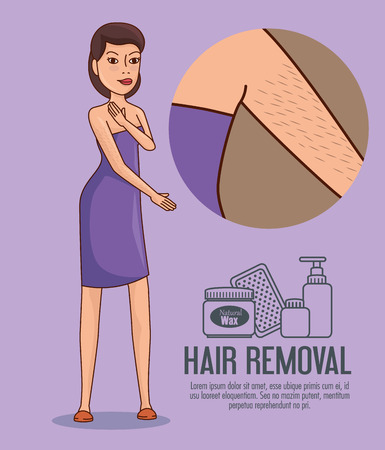 woman armpit with hair removal icons vector illustration design Illustration