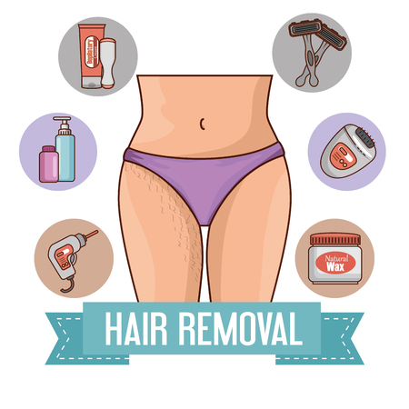 woman waist with hair removal icons vector illustration design