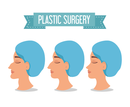 woman beafora and after of plastic surgery process vector illustration