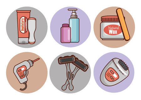 hair removal set products vector illustration design Vector Illustration
