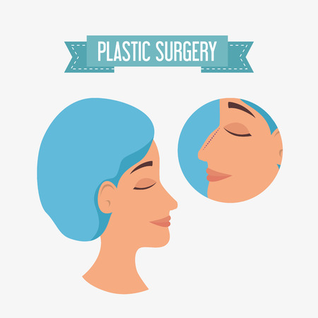 woman plastic surgery process vector illustration design