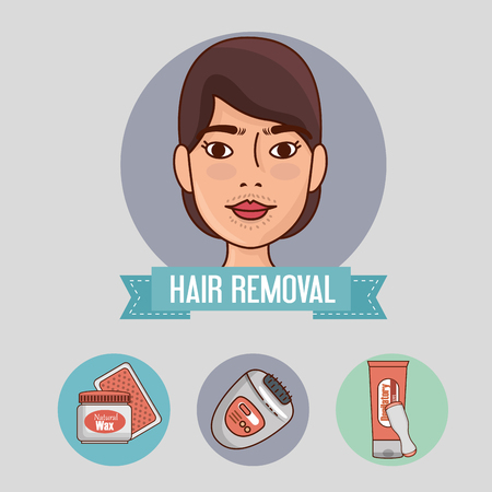woman face with hair removal icons vector illustration design  イラスト・ベクター素材