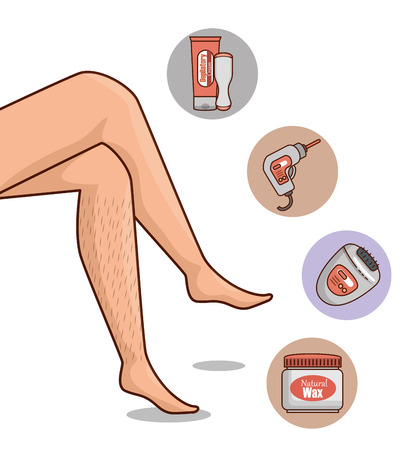 woman legs with hair removal icons vector illustration design