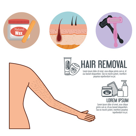 woman armpit with hair removal icons vector illustration design Standard-Bild - 112447906